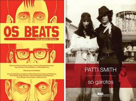 """Capas dos livros """"Os Beats"""", de Harvey Peakar, e """"Só garotos"""", de Patti Smith"""