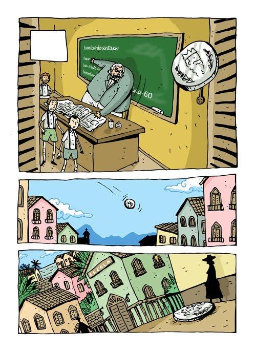 """Página do livro """"Contos de escola em quadrinhos"""", de Machado de Assis e Laerte Silvino"""
