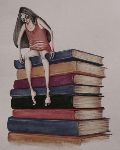 Livros - Ilustração de Paola Saliby