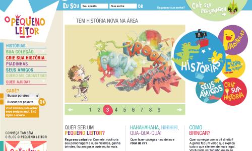 Tela do site O Pequeno Leitor