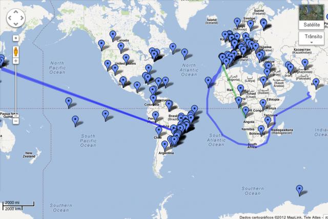 Mapa de livros e lugares