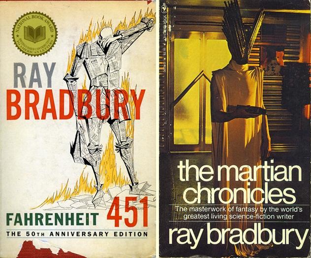 Capas Farenheit 451 e As Crônicas de Marte.