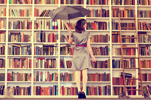 Livros parados na estante.